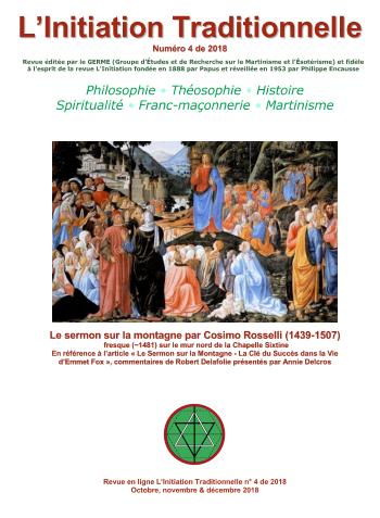 Revue L'Initiation Traditionnelle, numéro 4 de 2018