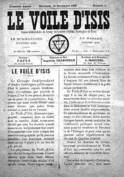 Le Voile d'Isis, numéro 1 du 12 novembre 1890